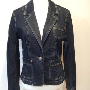 Premium Blue Denim  Fitted Jacket Blazer Size M
